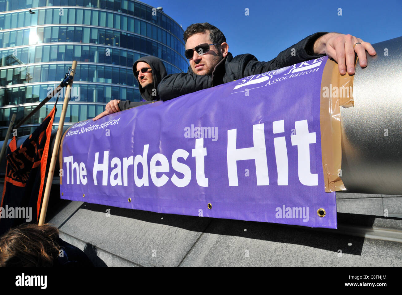 Welfare Reform Bill protest The Hardest Hit banner at the protest against benefit cuts for disabled people Stock Photo