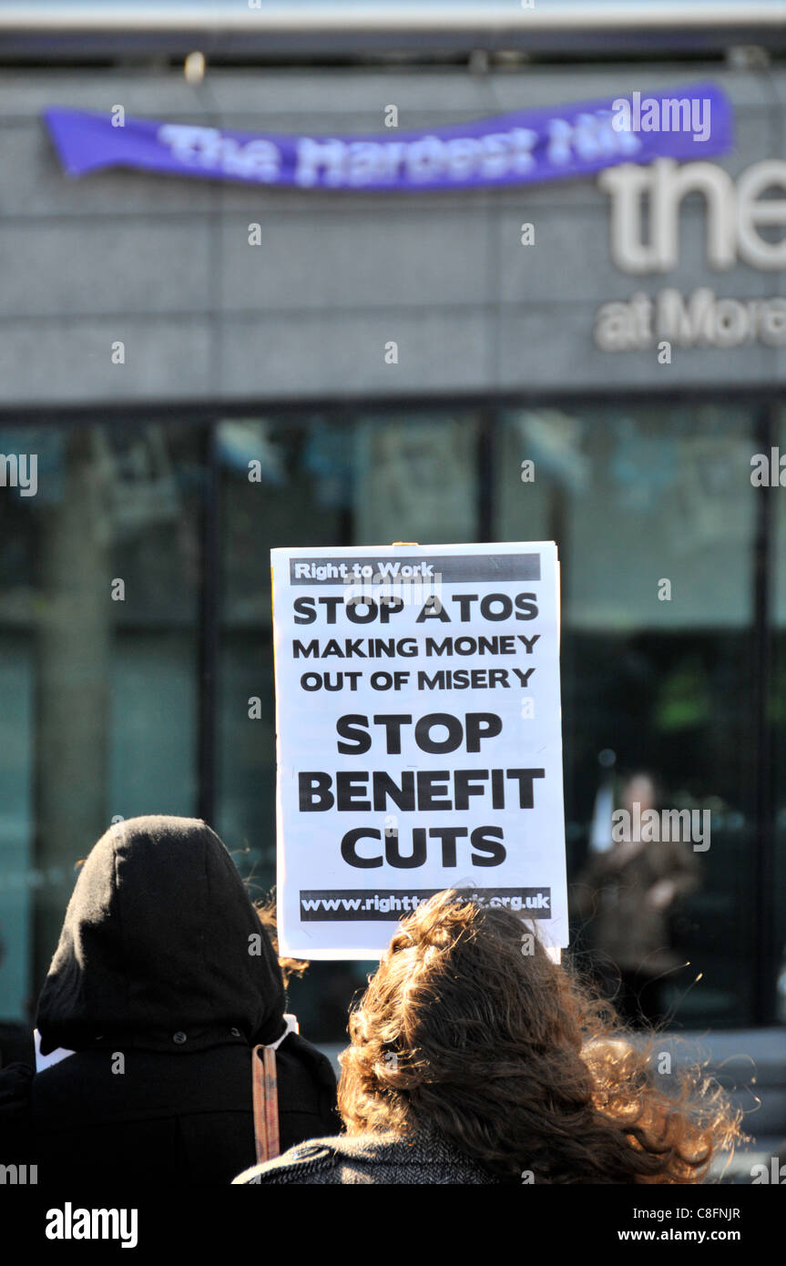 Welfare Reform Bill protest Protest against benefit cuts for disabled people, The Hardest Hit Stock Photo