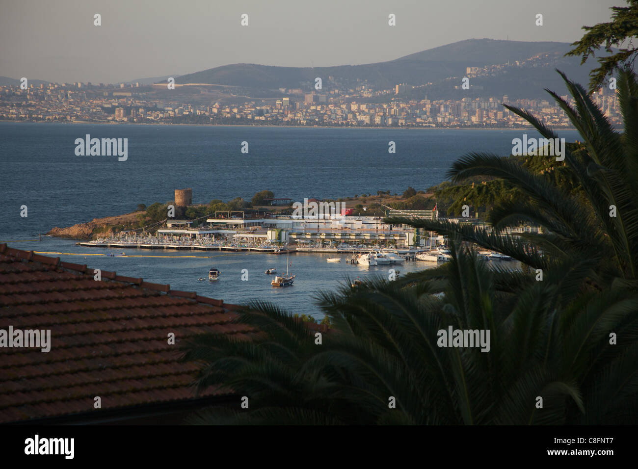 Sports Club on Heybeli Island, Istanbul Turkey, with View over to Asian Side of Istanbul - Stock Image