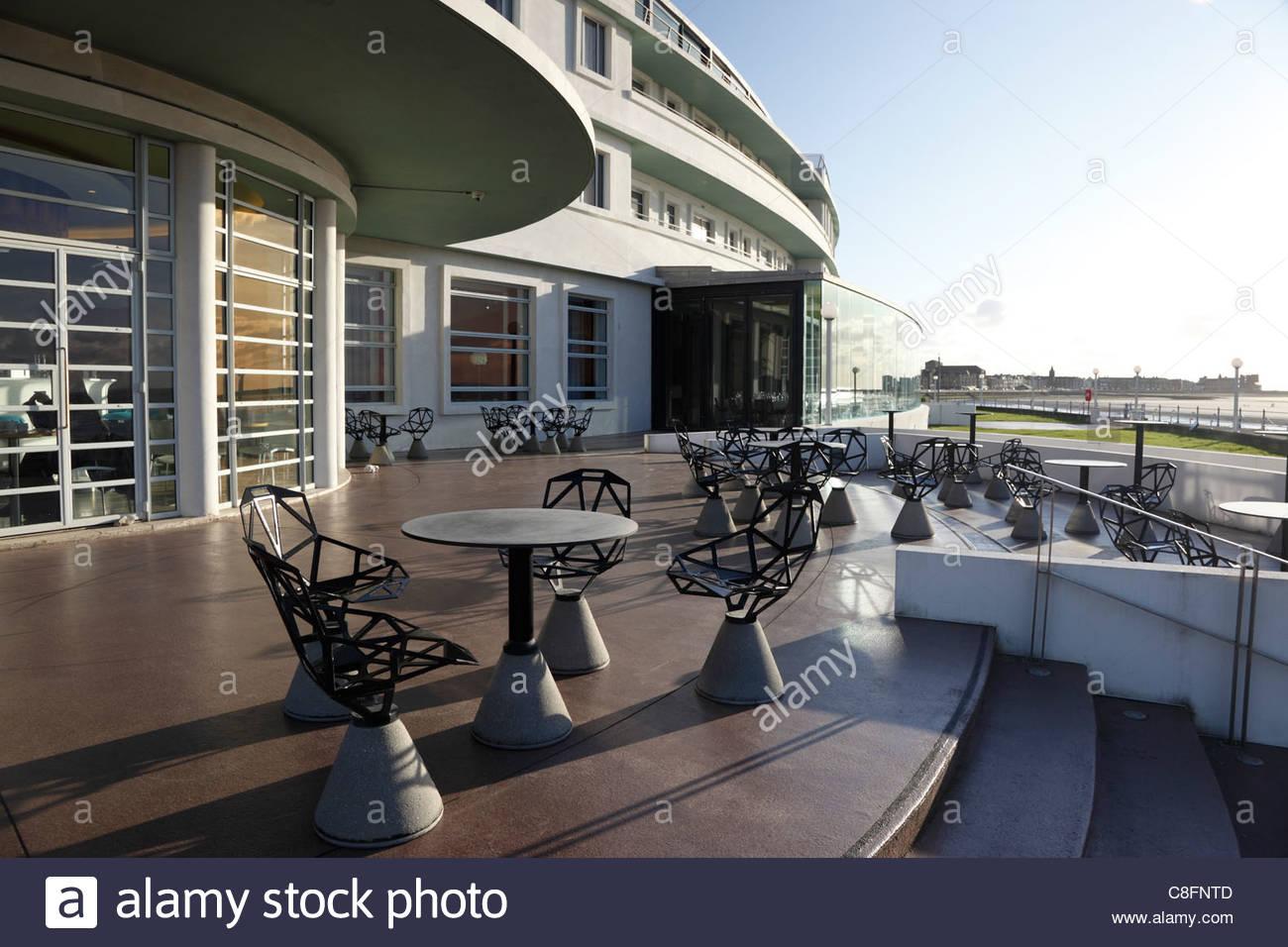 Cafe at the Midland Hotel Morecambe Lancashire England - Stock Image