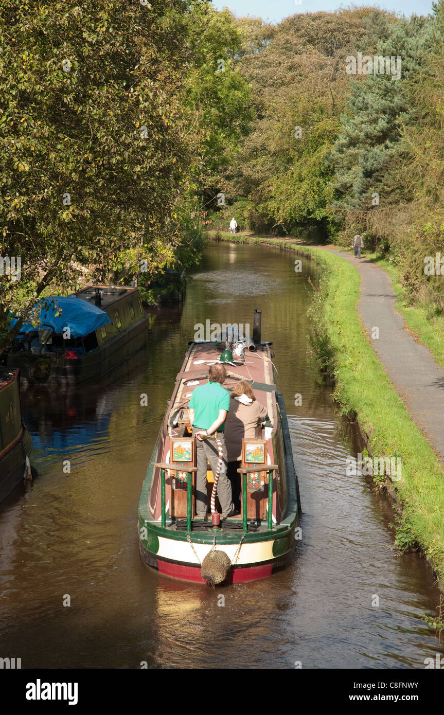 Cruising on the Peak Forest canal, Derbyshire. - Stock Image