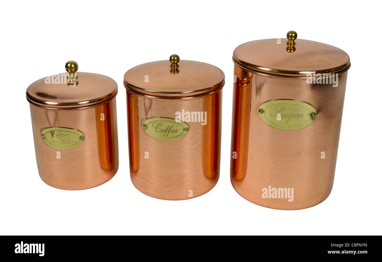 Copper cannisters for storing food ingredients - path included - Stock Image