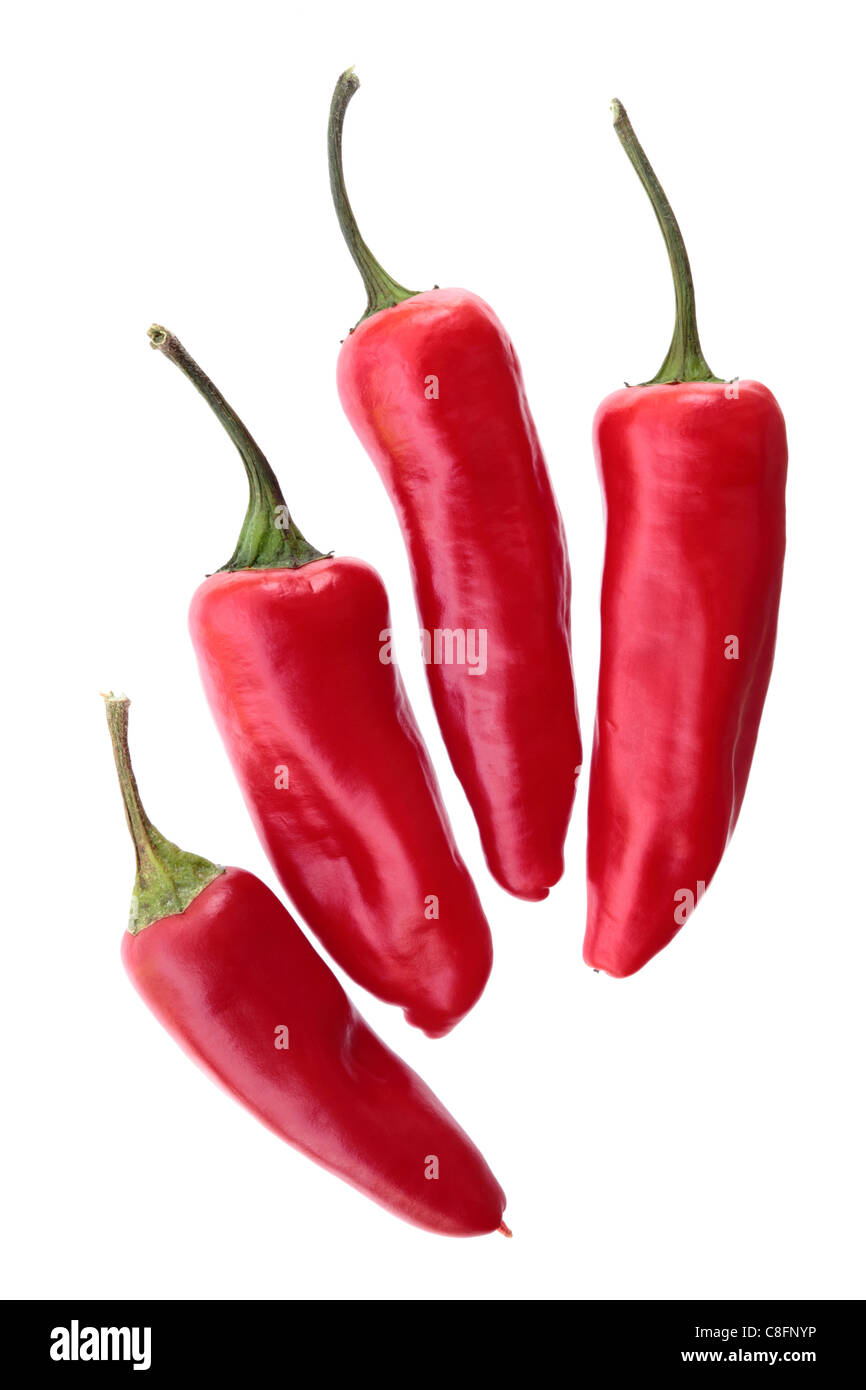Four red Chillies - Stock Image