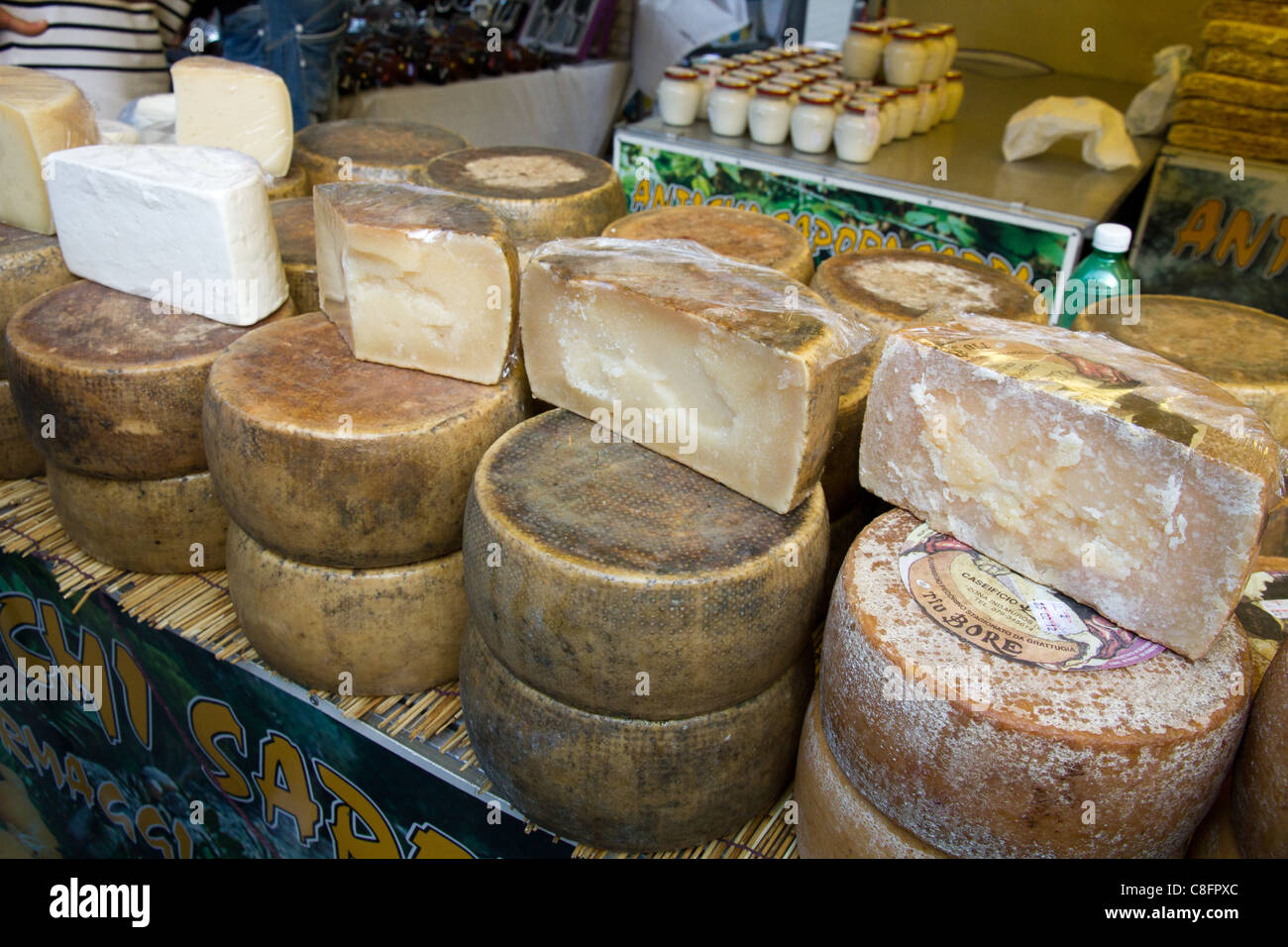 Traditional italian food cheese displayed in a stall Italy - Stock Image