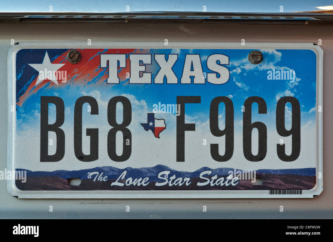 Car license plate in Texas,The Lone Star State, USA - Stock Image