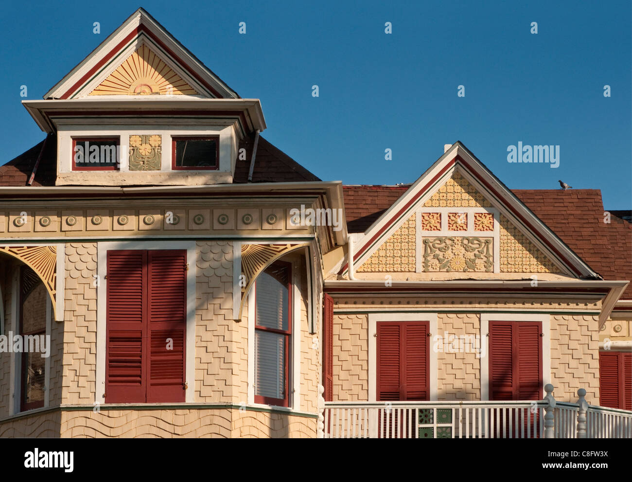 'Gingerbread' details at Beissner House, built 1898, Ball Avenue at East End Historic District, sunrise, - Stock Image