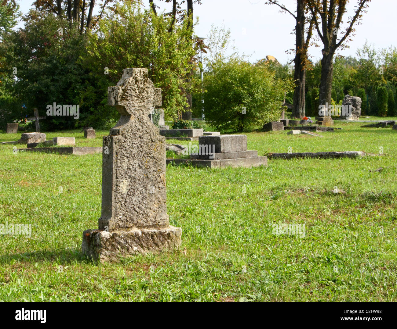 Old abandoned cemetery in Zagreb, Croatia - Stock Image
