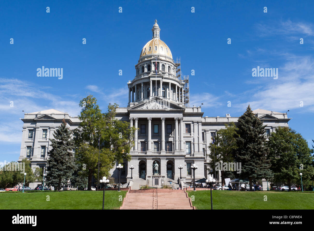 Front of Colorado capitol building or statehouse in Denver - Stock Image
