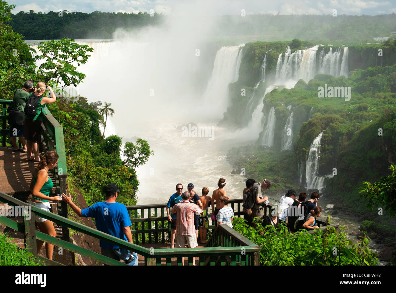 Tourist look at Iguazu, Iguaçu Falls, from platform, Cataratas do Iguaçu, Cataratas del Iguazú. Curitiba, - Stock Image