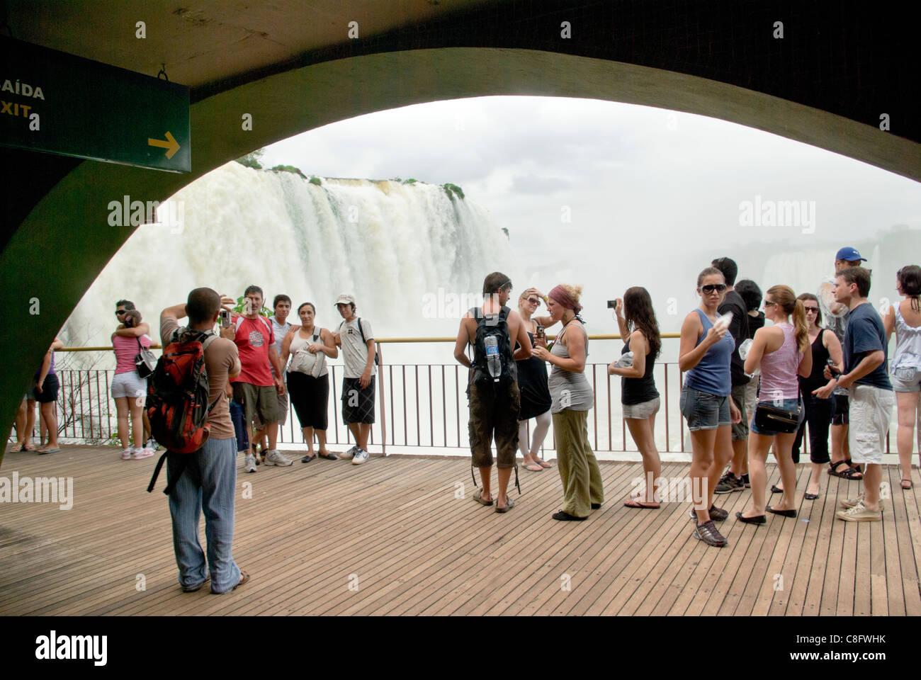 Tourist photographing on visitor's center platform, Cataratas do Iguaçu, Cataratas del Iguazú . Curitiba, - Stock Image