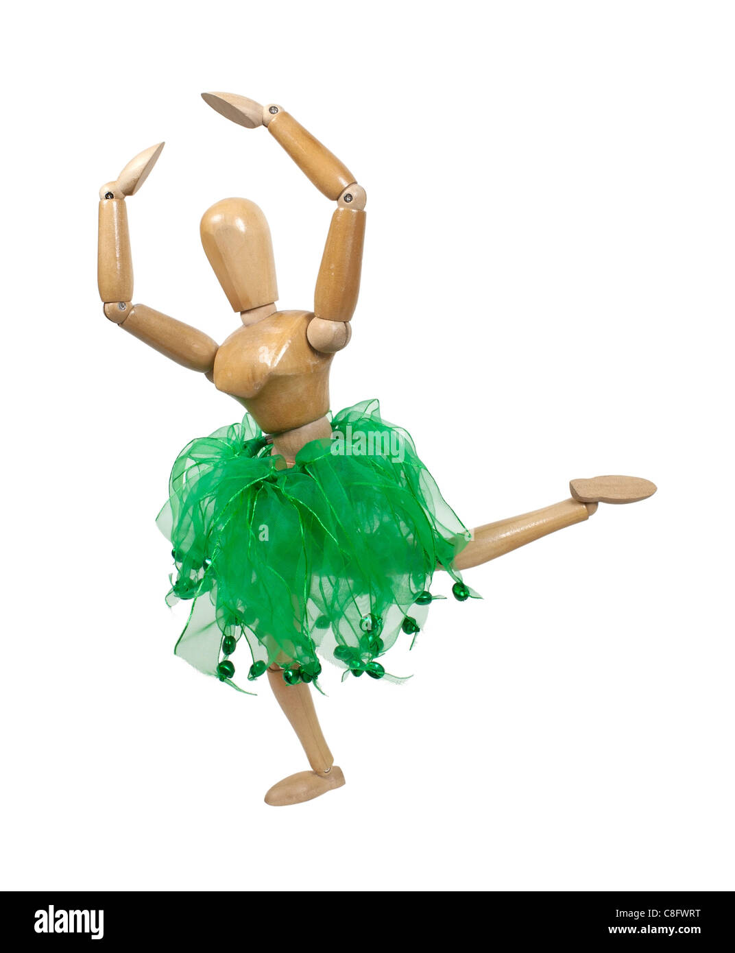Dancer in a ballet attitude pose in a graceful classical dance - path included - Stock Image