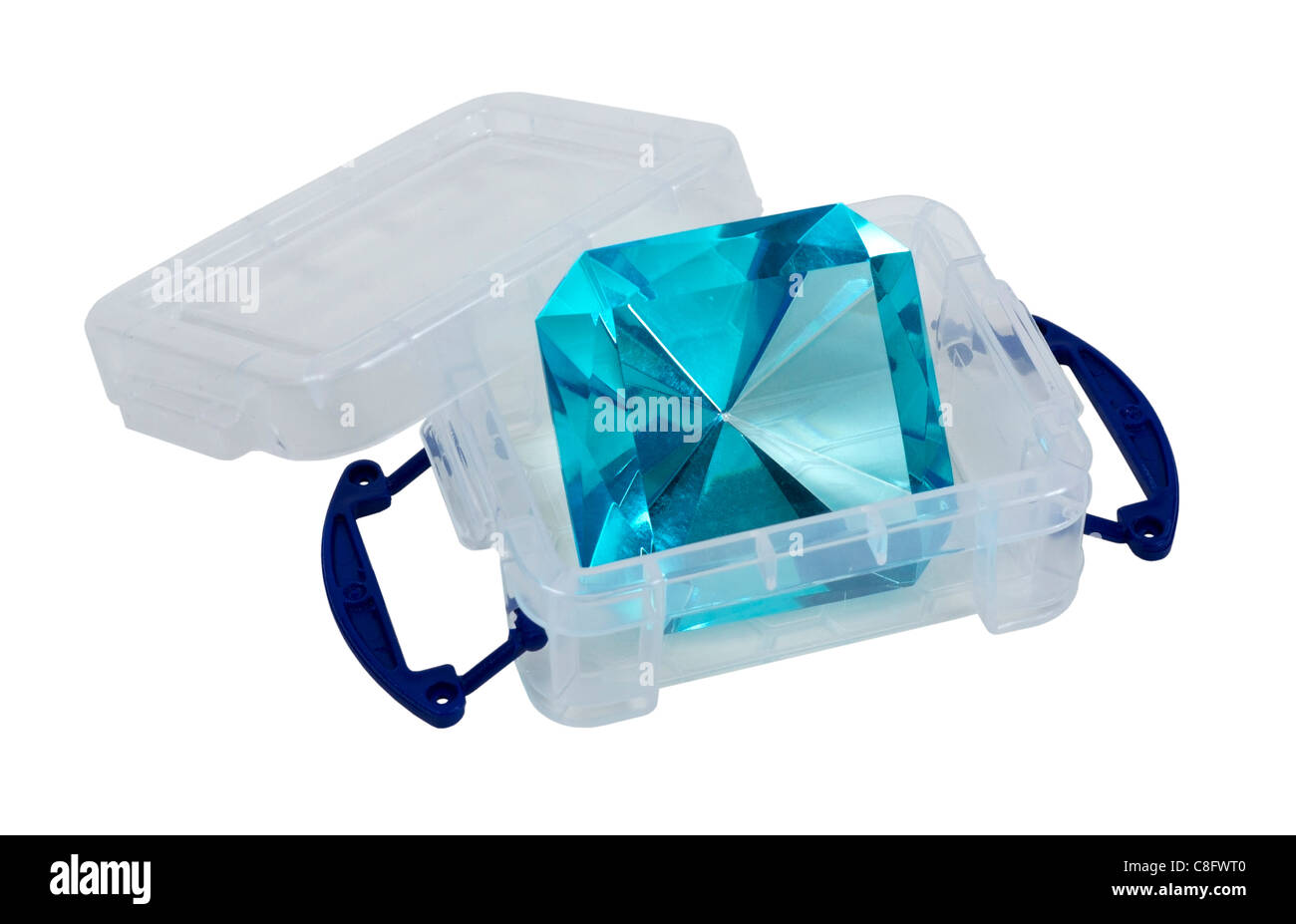 Large blue gem in a plastic crate with blue handles - path included - Stock Image