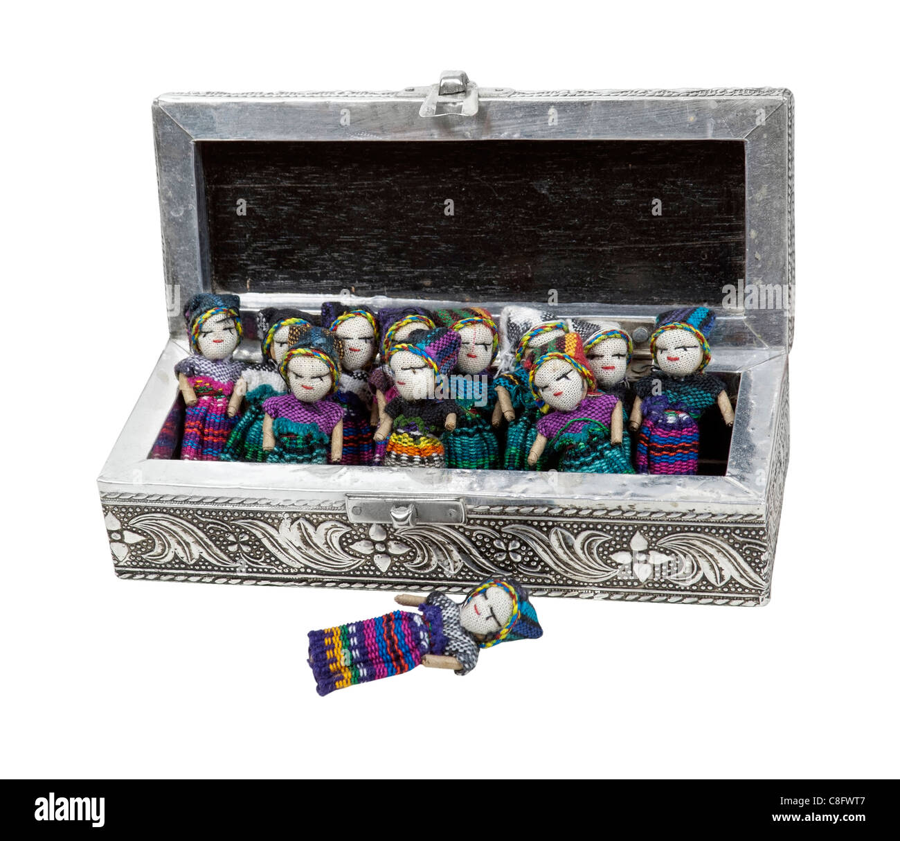 Silver box of worry dolls - Stock Image