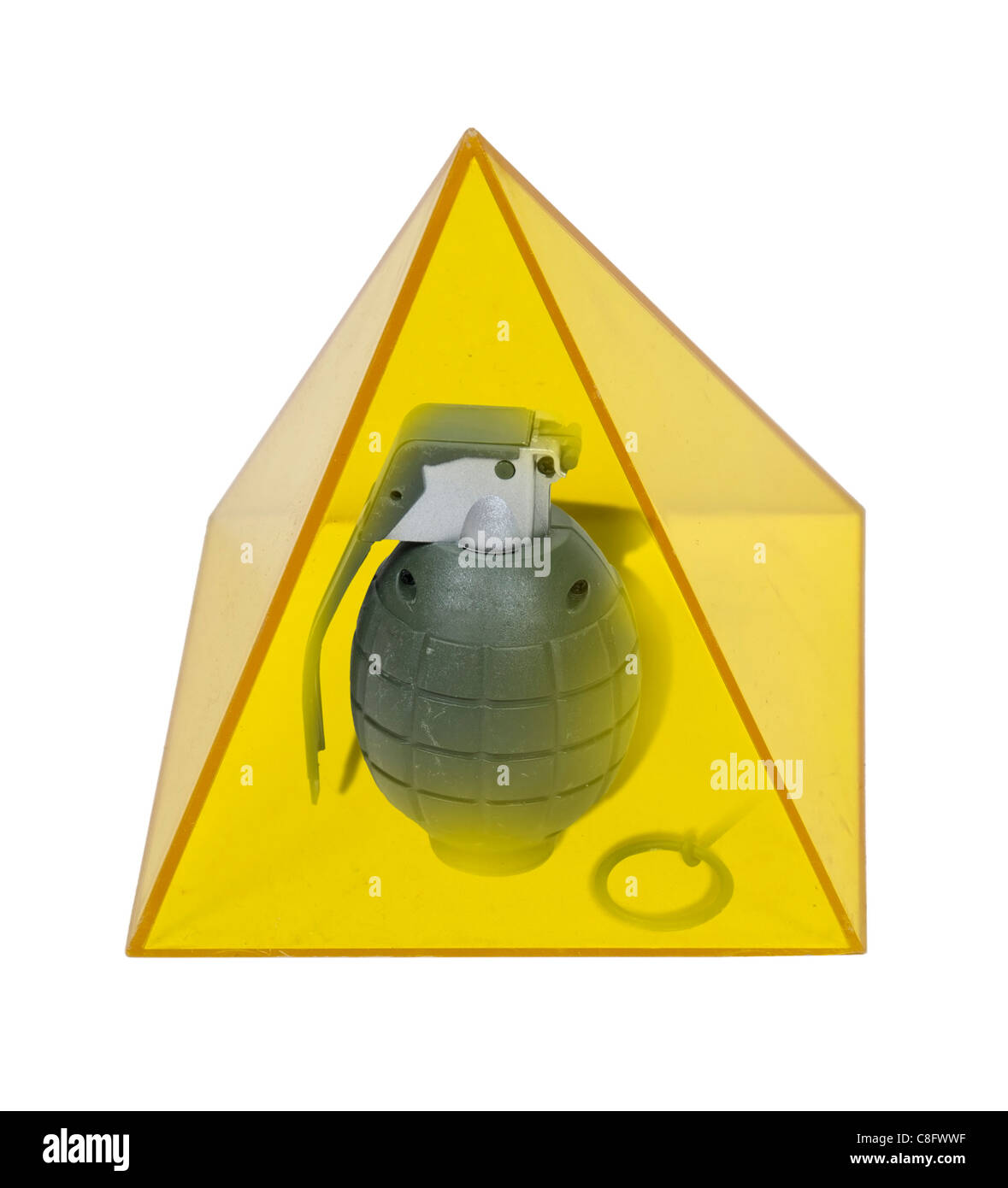 Egypt struggles shown by a grenade in a yellow pyramid - path included - Stock Image