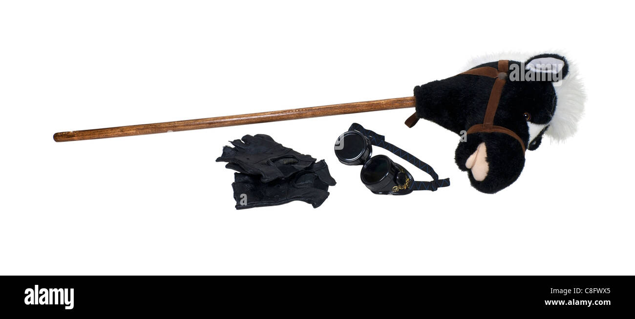 Hobby horse with gloves and goggles worn as a fashion accessory and for protection - path included - Stock Image