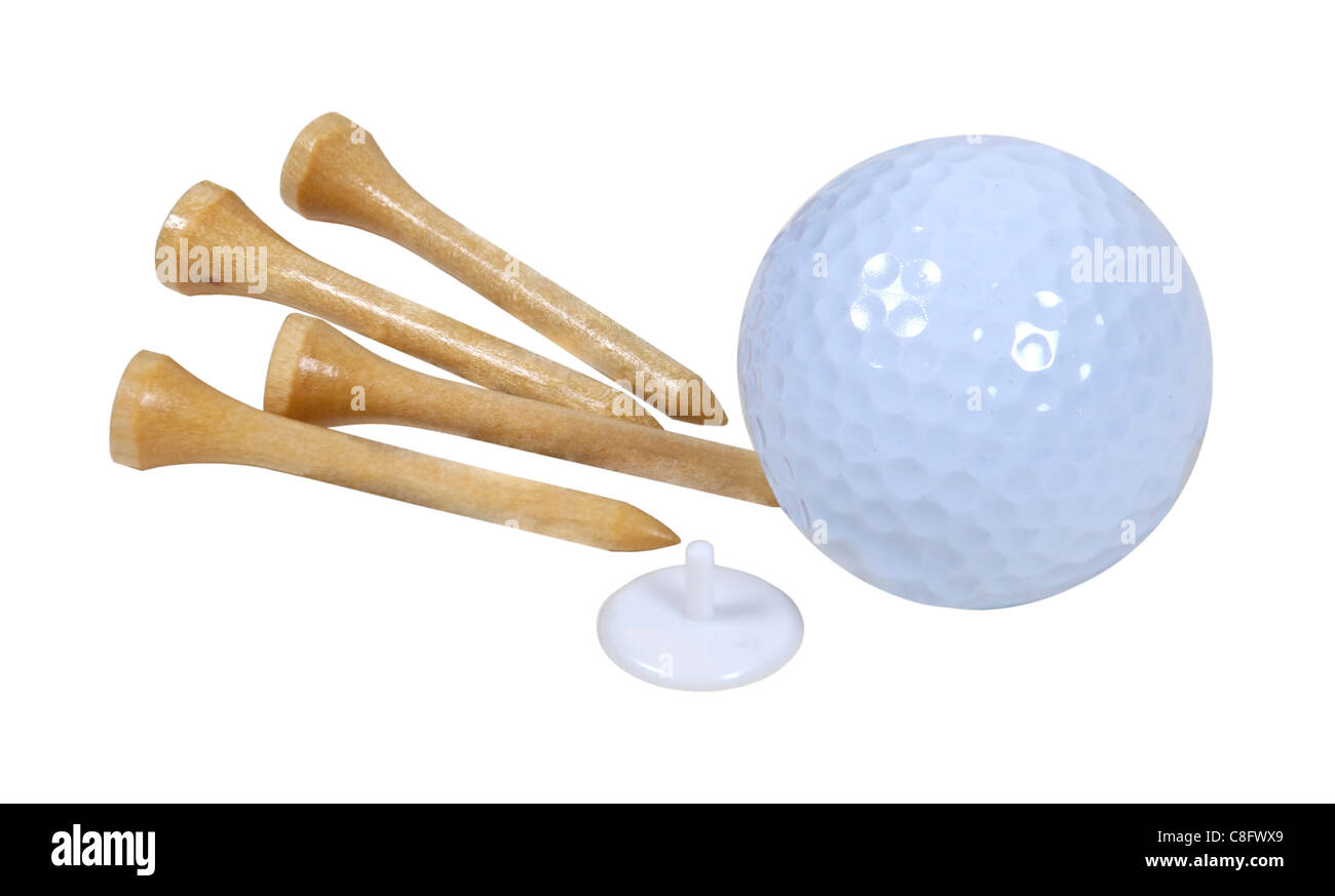 Golf ball with marker and tees used for playing the game of golf - path included - Stock Image
