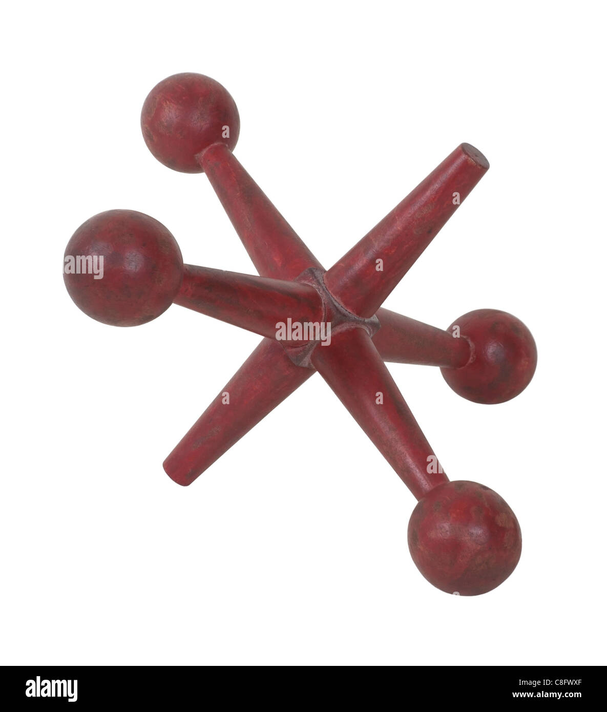 Antique jacks used in a game of dexterity and skill - path included - Stock Image