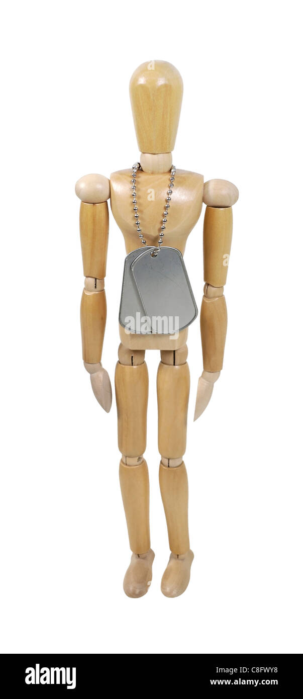 Wooden model wearing military dog tags made of metal with a beaded chain - path included - Stock Image