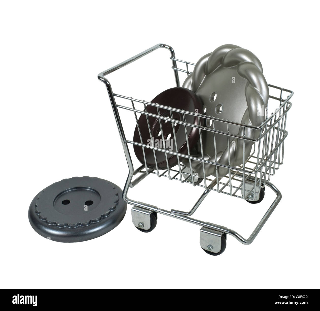 Shopping for fasteners shown by a variety of buttons used for fastening clothing in a shopping cart - path included - Stock Image