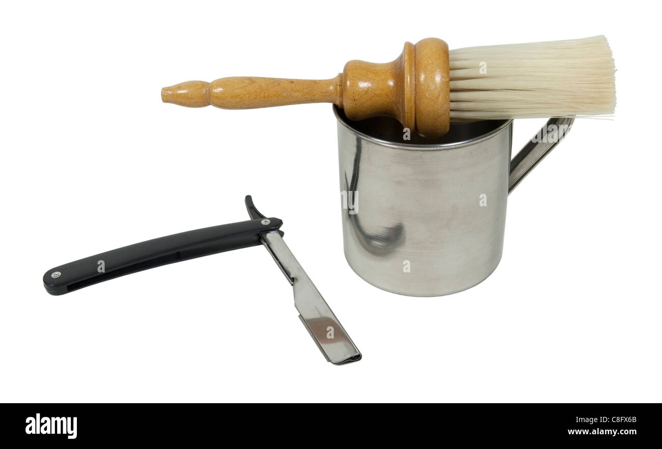 Straight razor with mug and brush used for shaving - path included - Stock Image