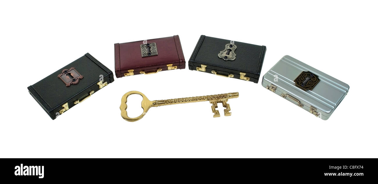 Unlocking a career path shown by an intricate key with several briefcases and locks to choose from - path included - Stock Image