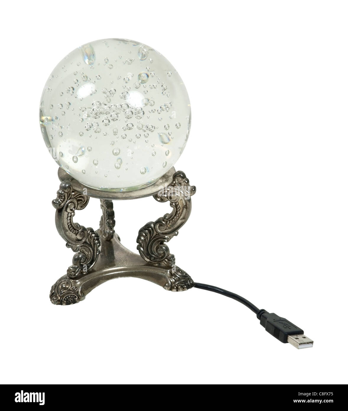 USB powered crystal ball for an updated view into the future - path included - Stock Image