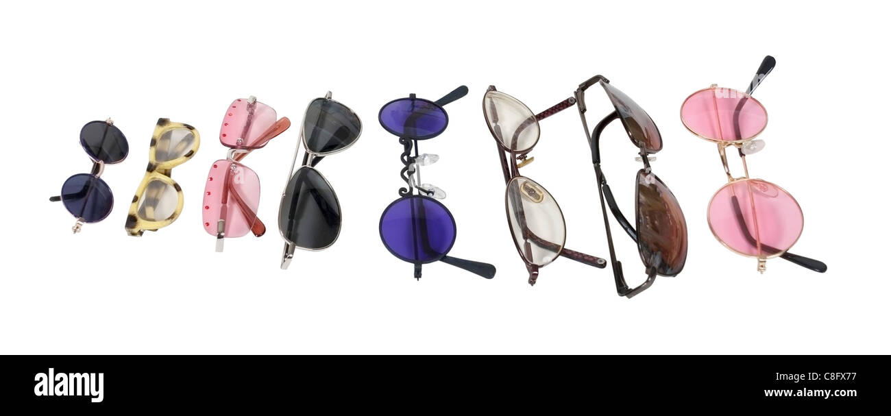 A variety of colorful glasses for eye protection and fashion accessory - path included - Stock Image