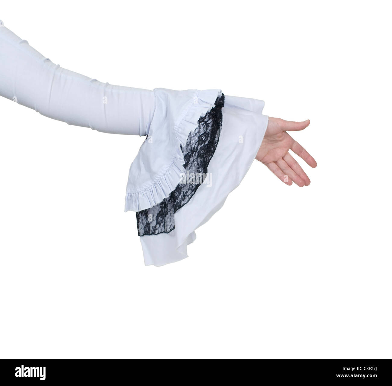 Extending a handshake wearing a delicate and feminine gothic white lace outfit - path included - Stock Image