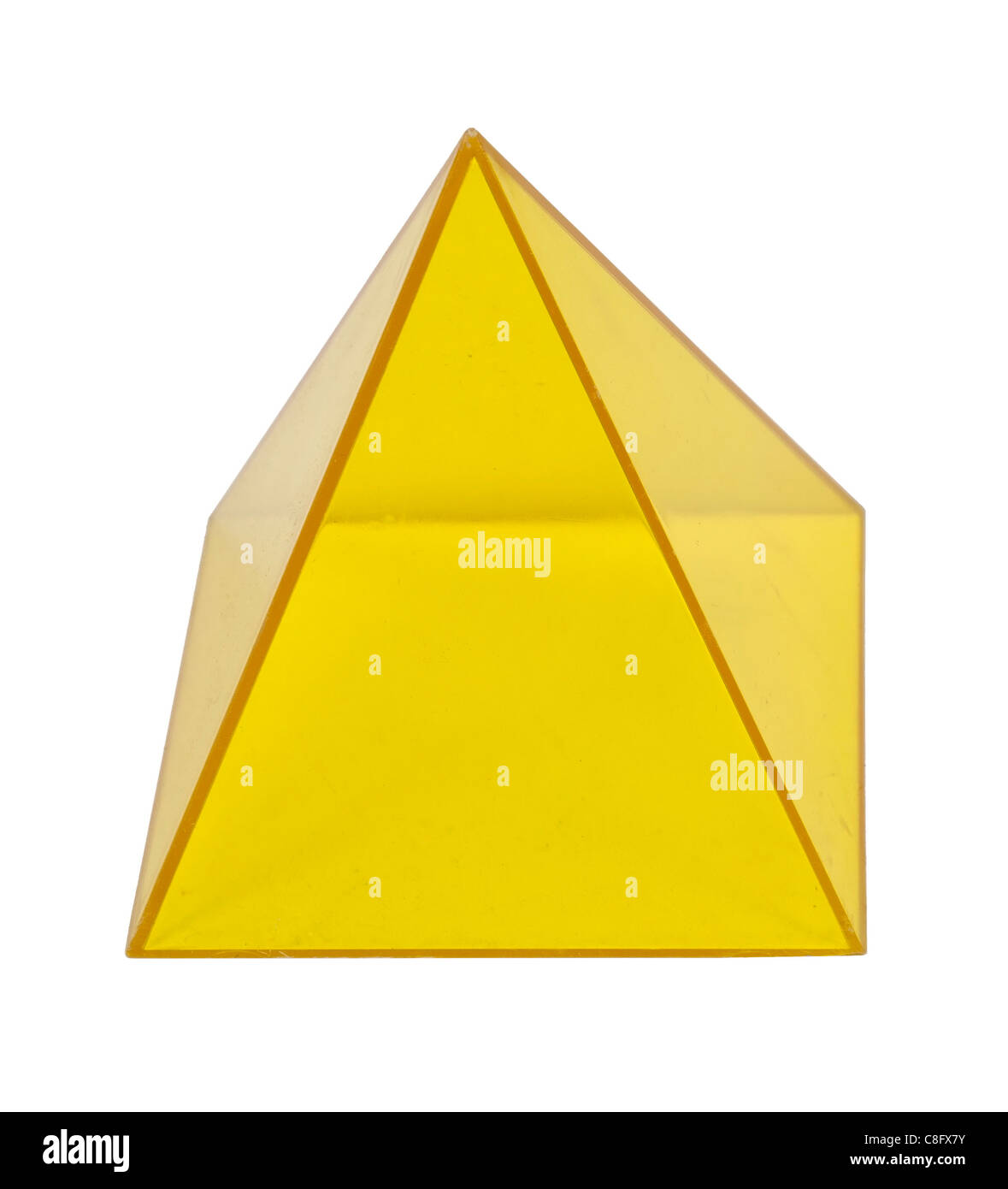 Yellow pyramid Several geometric shapes used for educational purposes - path included - Stock Image