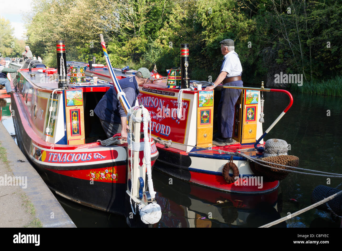 Narrow boat and butty getting ready to set off on a trip - Stock Image