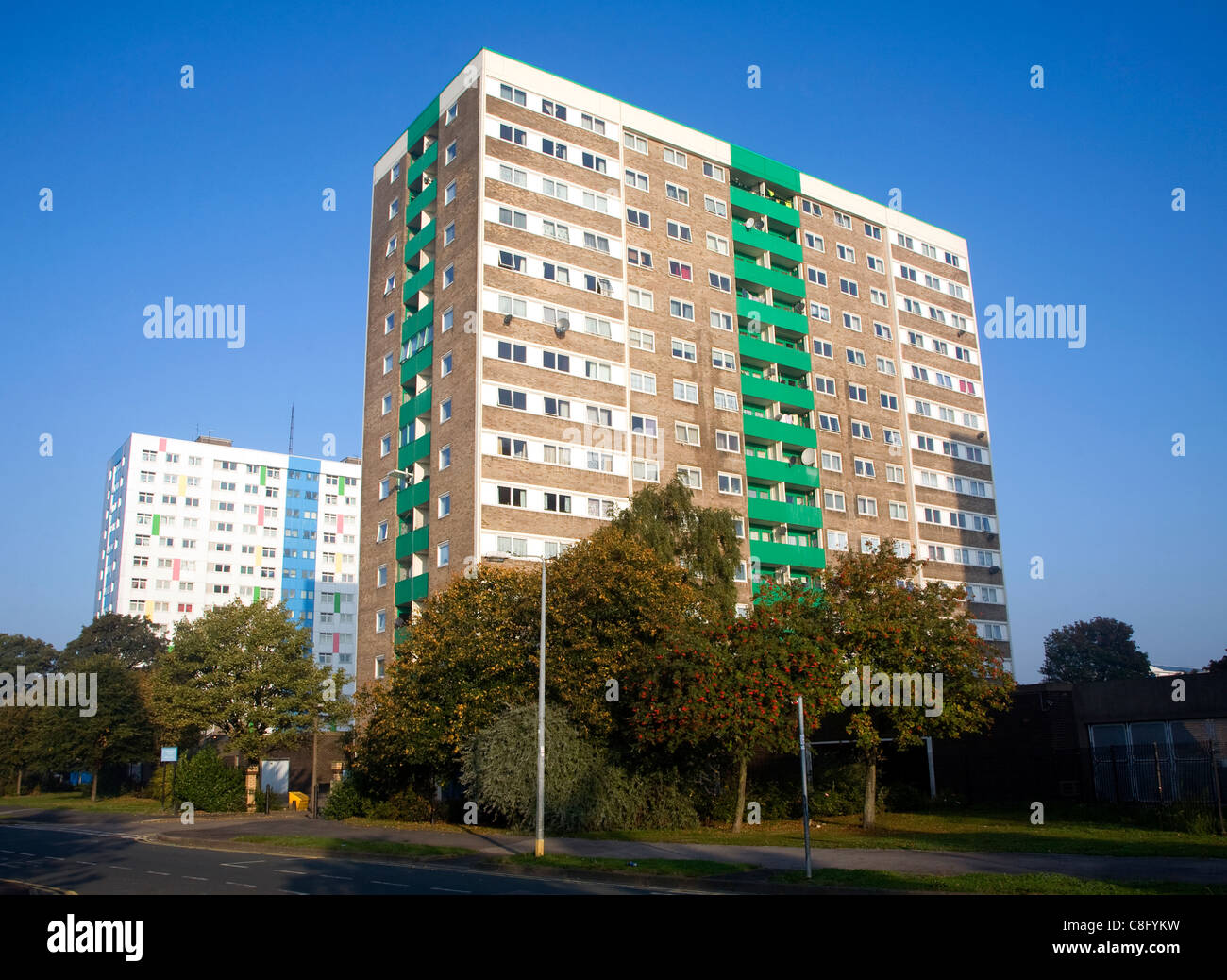 High rise inner city flats, Anlaby Road, Hull, Yorkshire, England - Stock Image