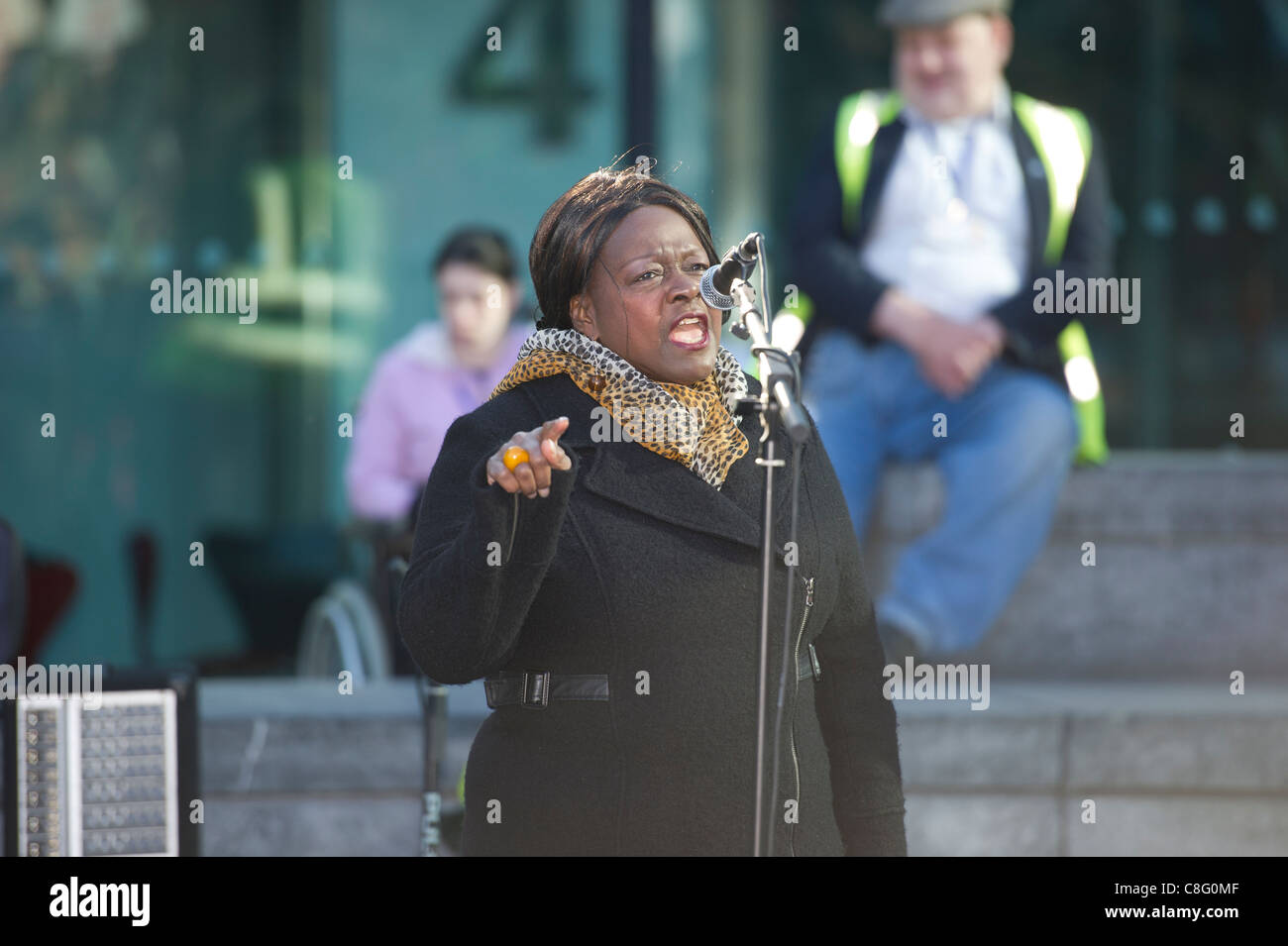 Jeannette Arnold, the Chair of the London Assembly and Assembly member for NE London speaking at the Hardest Hit - Stock Image