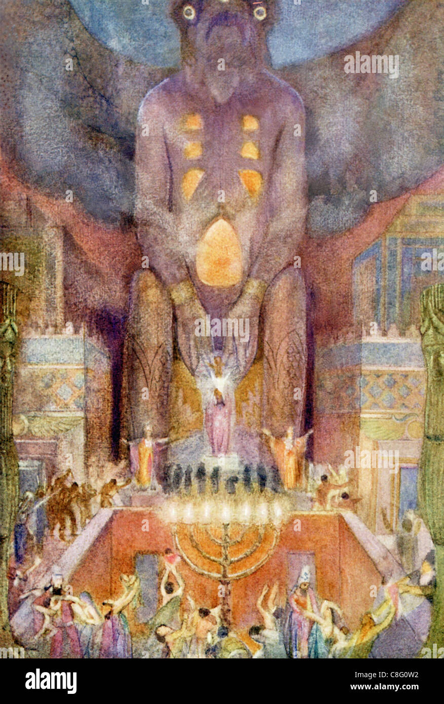 Here is portrayed the worship of Baal Hammon—said that some  Baal followers practiced child sacrifice and some human - Stock Image