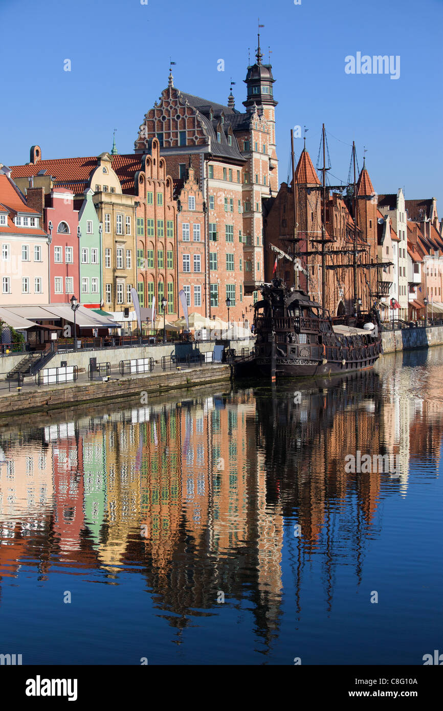 Old Town houses with reflection in Motlawa river, city of Gdansk, Poland Stock Photo