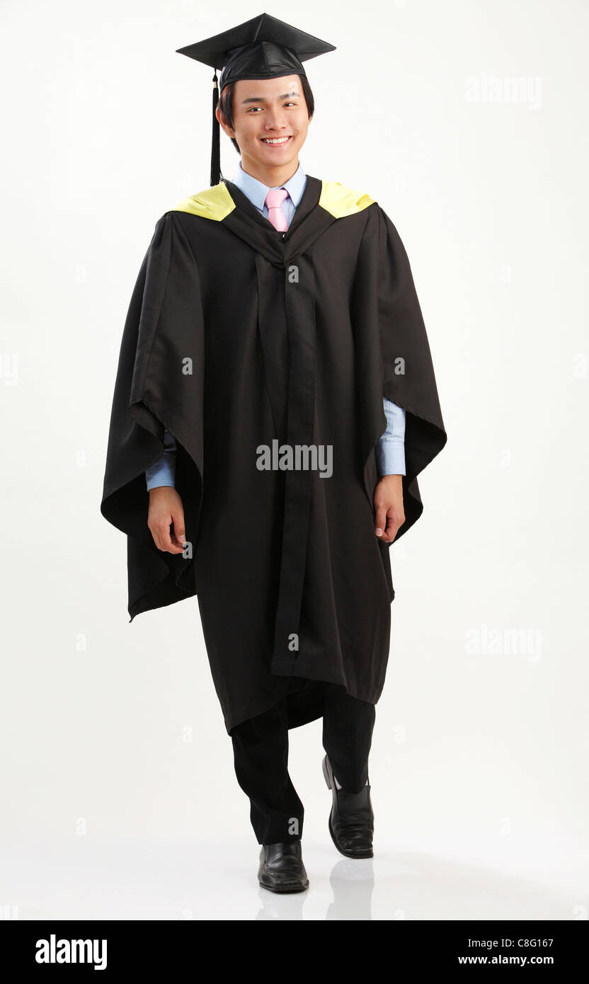 full length of the man in the graduation gown Stock Photo: 39690175 ...