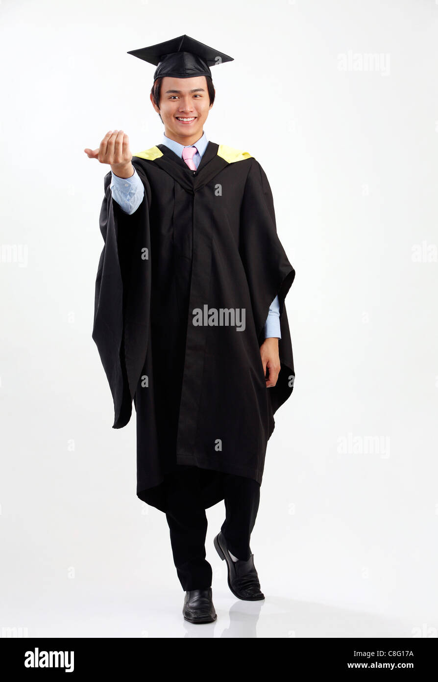 full length of the man in the graduation gown Stock Photo: 39690206 ...