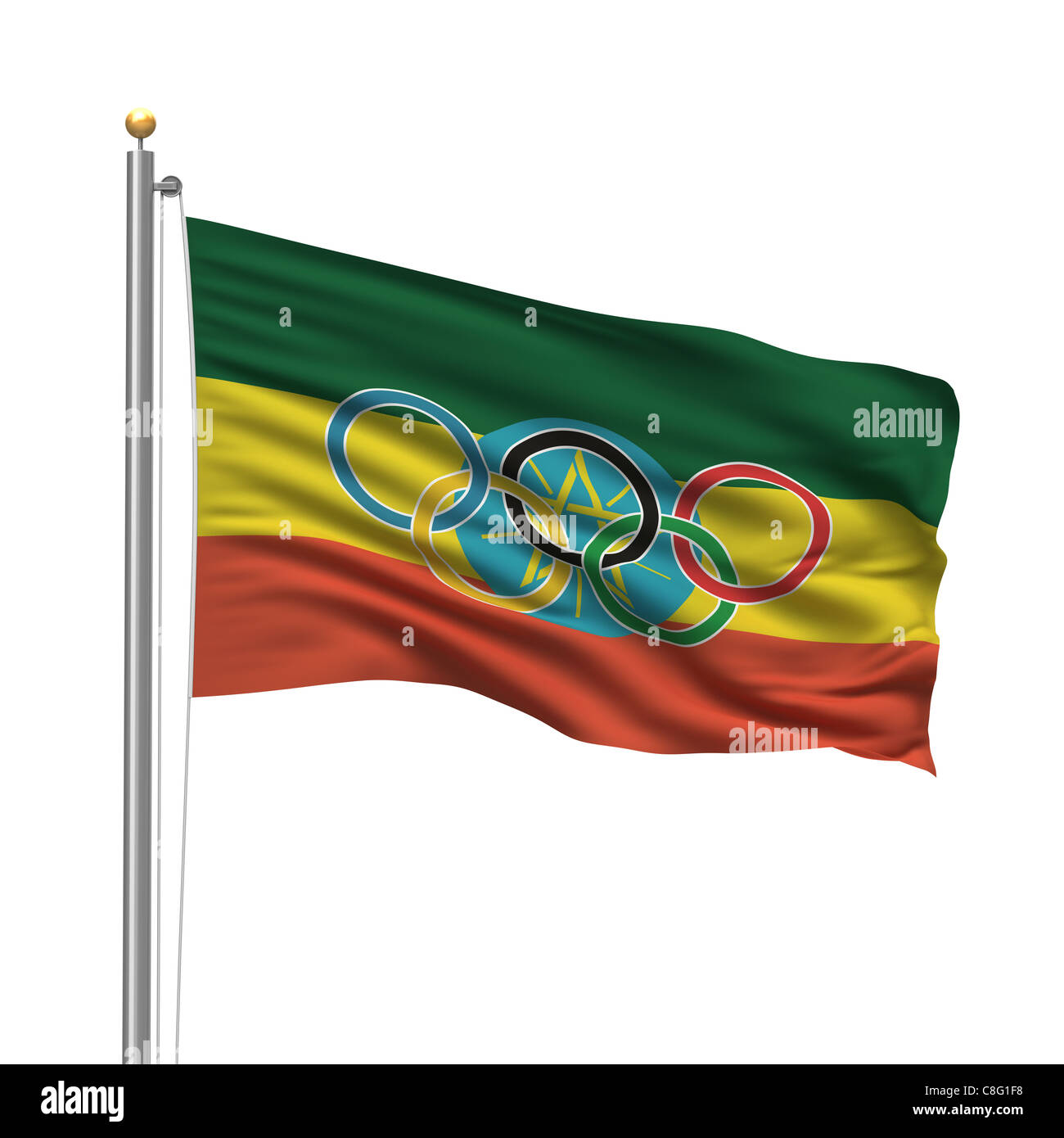 Flag of Ethiopia with Olympic rings - Stock Image