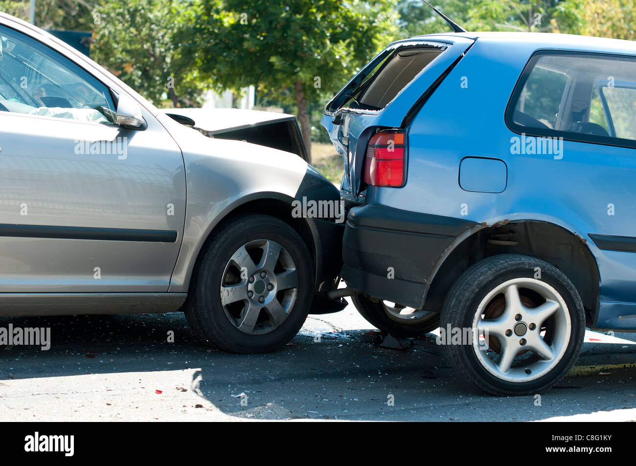 Two crashed cars close up - Stock Image