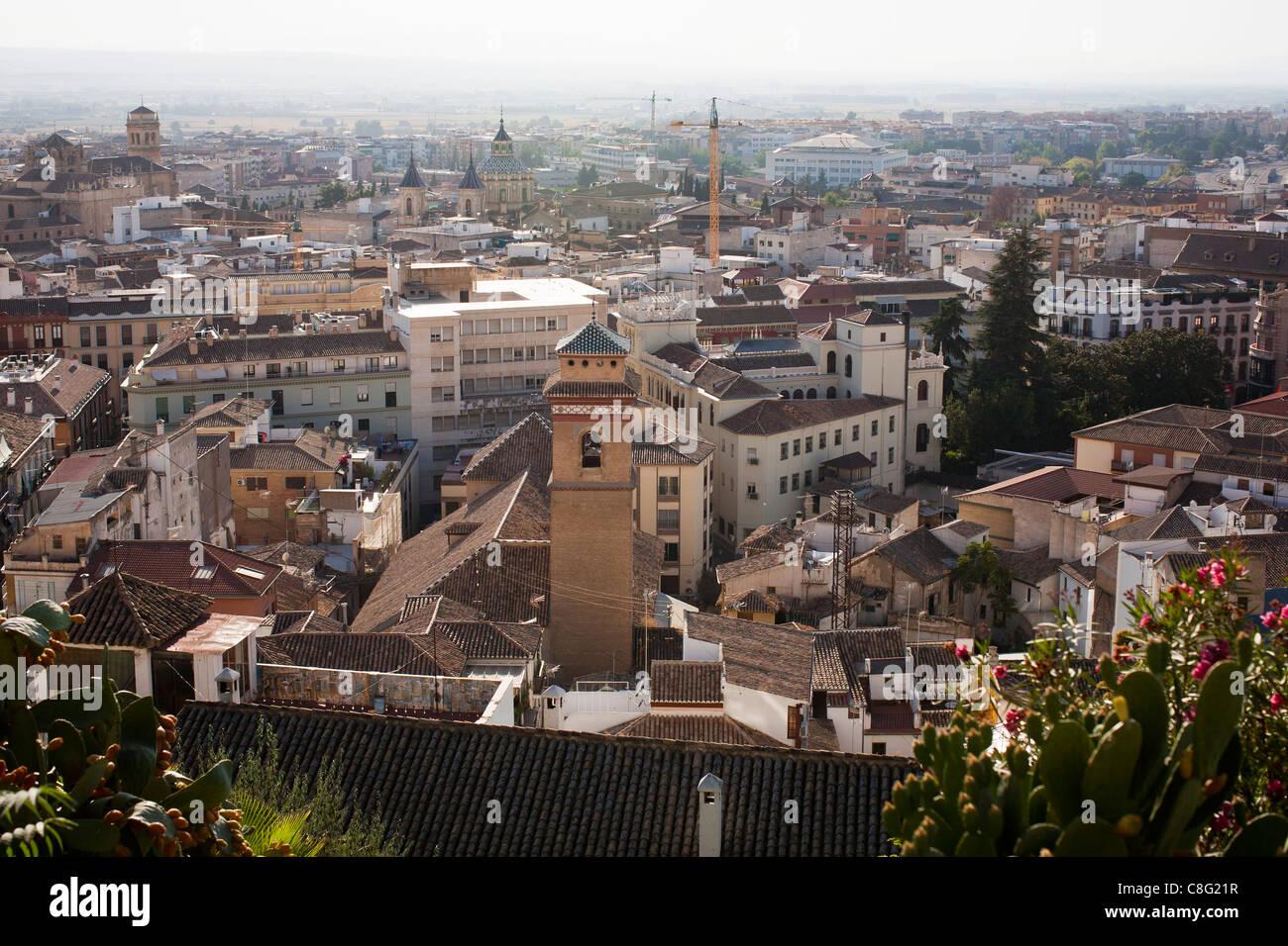 Panoramic view over Granada, Andalusia, Spain, Europe - Stock Image