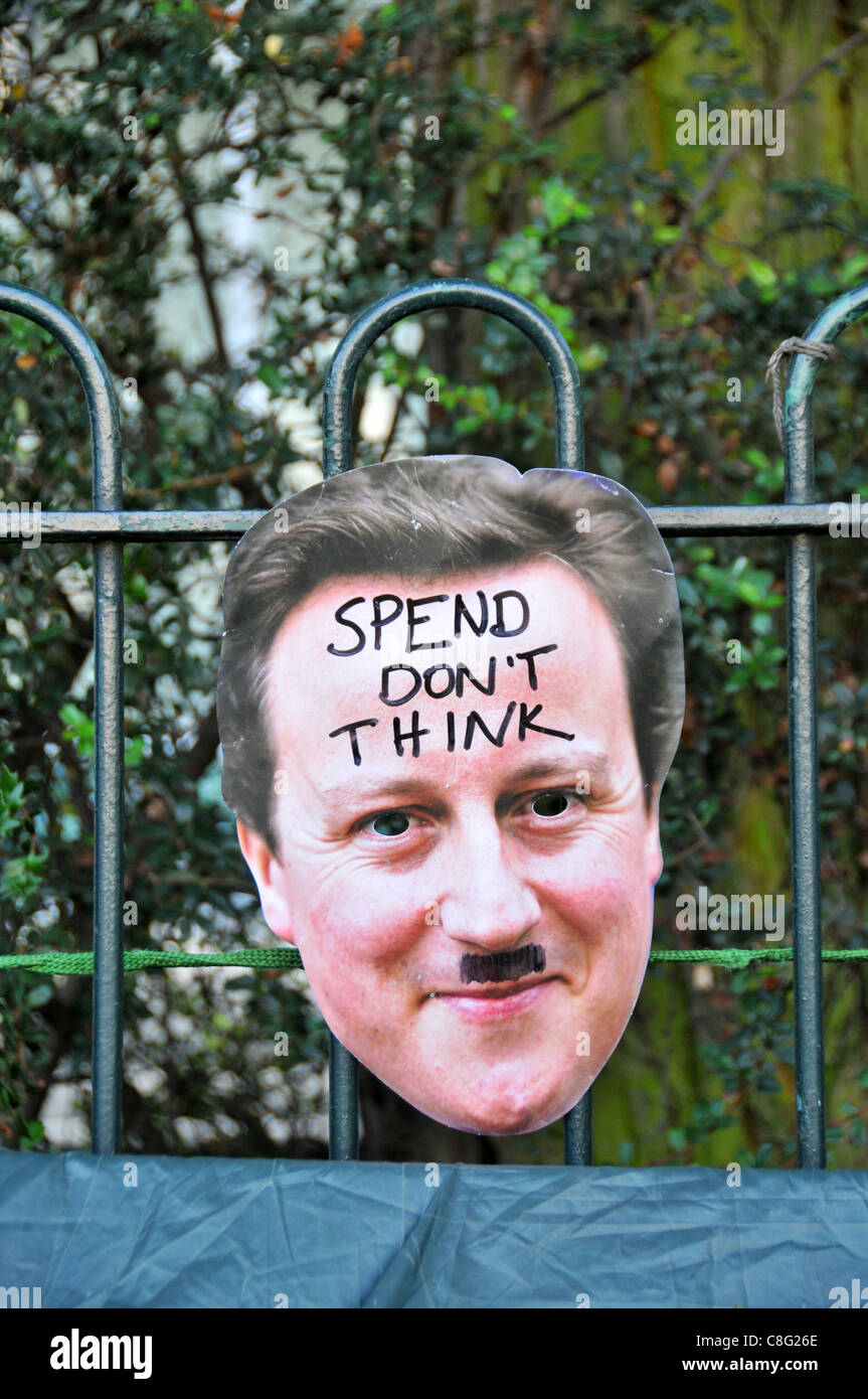 A David Cameron mask at the Occupy London Finsbury Square anti capitalist protest Sunday 23rd October 2011 - Stock Image