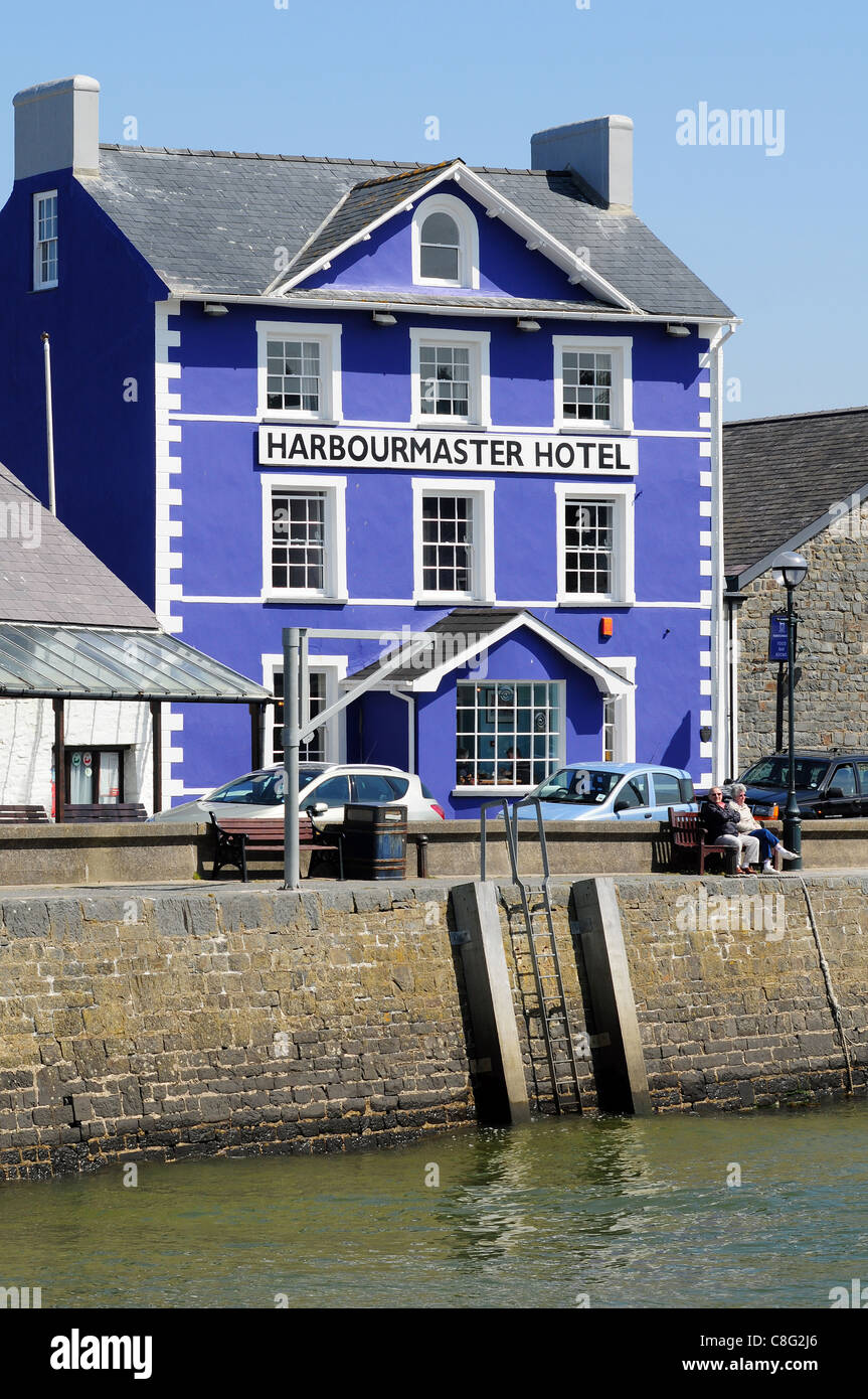 The Harbourmaster Hotel on the quayside at Aberaeron, Ceredigion, Wales. - Stock Image
