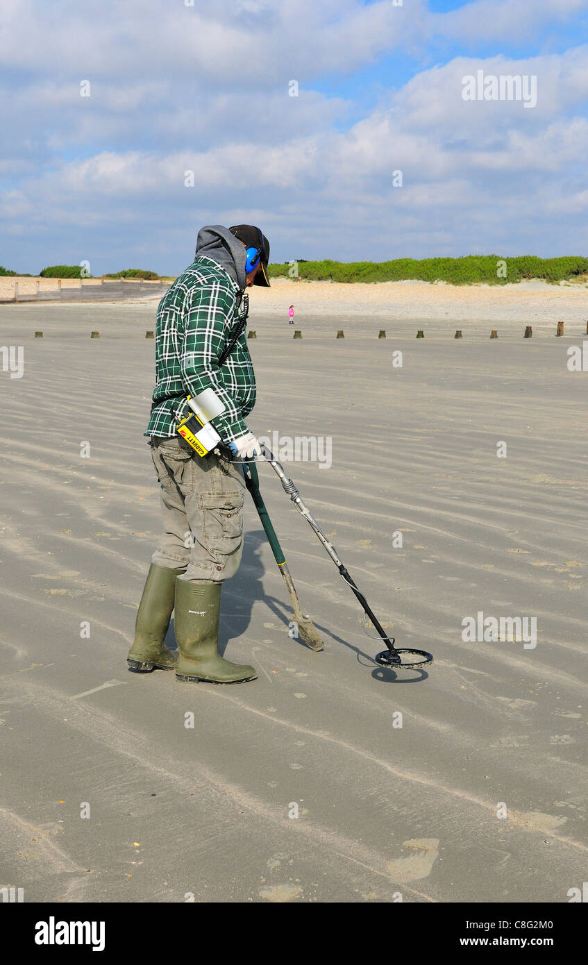 Jew Detector: Man With Metal Detector Looking For Lost Valuables On West
