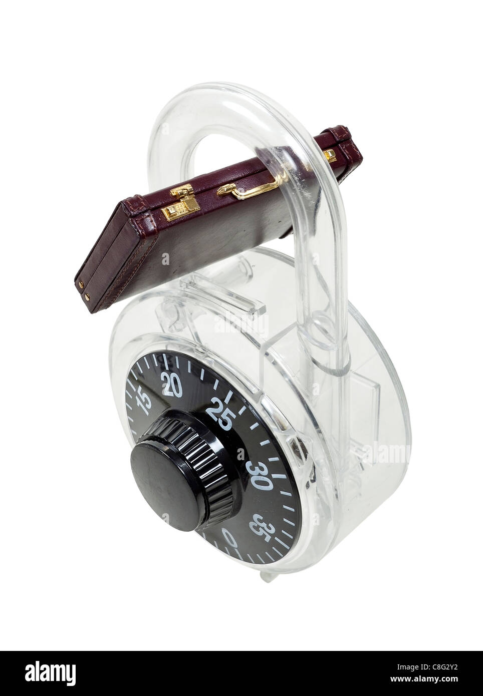 Business security shown by a large padlock used to lock items around a briefcase - path included - Stock Image