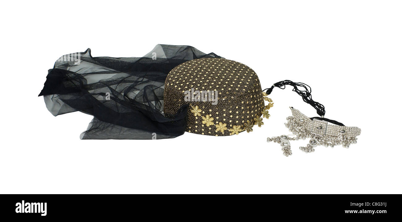 Arabian nights harem headwear with sequins and a veil with a silver chained necklace - path included - Stock Image