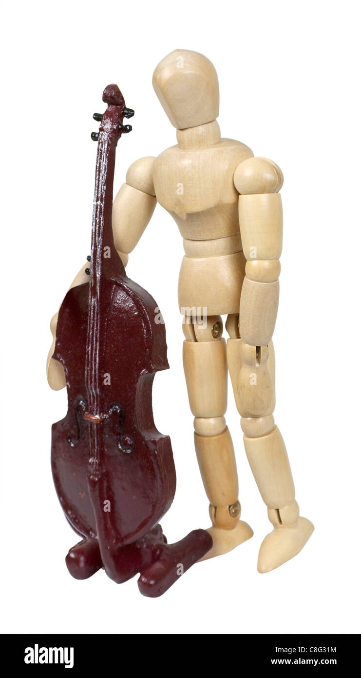 Holding a classical wooden stringed bass musical instrument - path included - Stock Image
