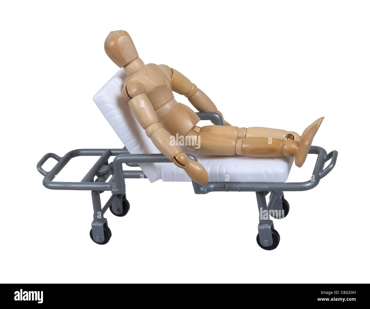 Patient on a hospital gurney used for transporting patients between places - path included - Stock Image