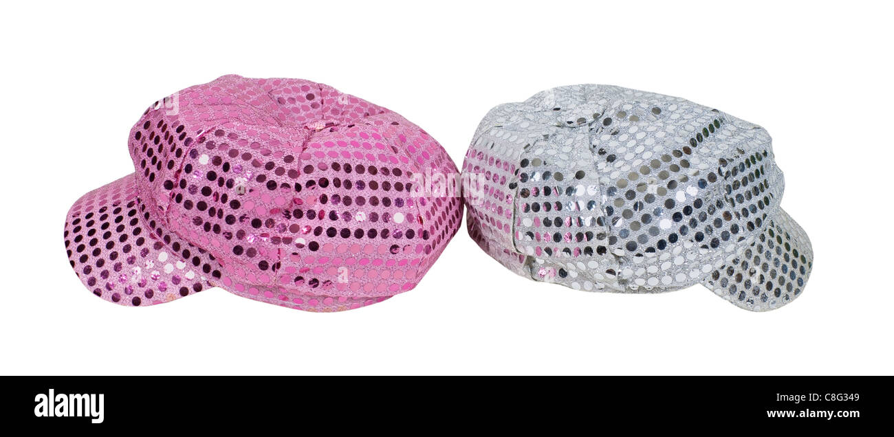 Pink and silver cap with reflective pieces of sparkle reminiscent of the disco era - path included - Stock Image