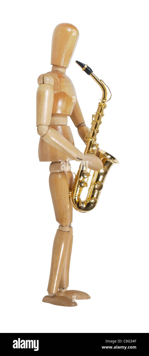 Model playing a brass saxophone with standard keys and touches - path included - Stock Image