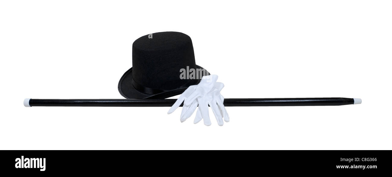Top hat with a black cane and white gloves for a formal occasion - path included - Stock Image