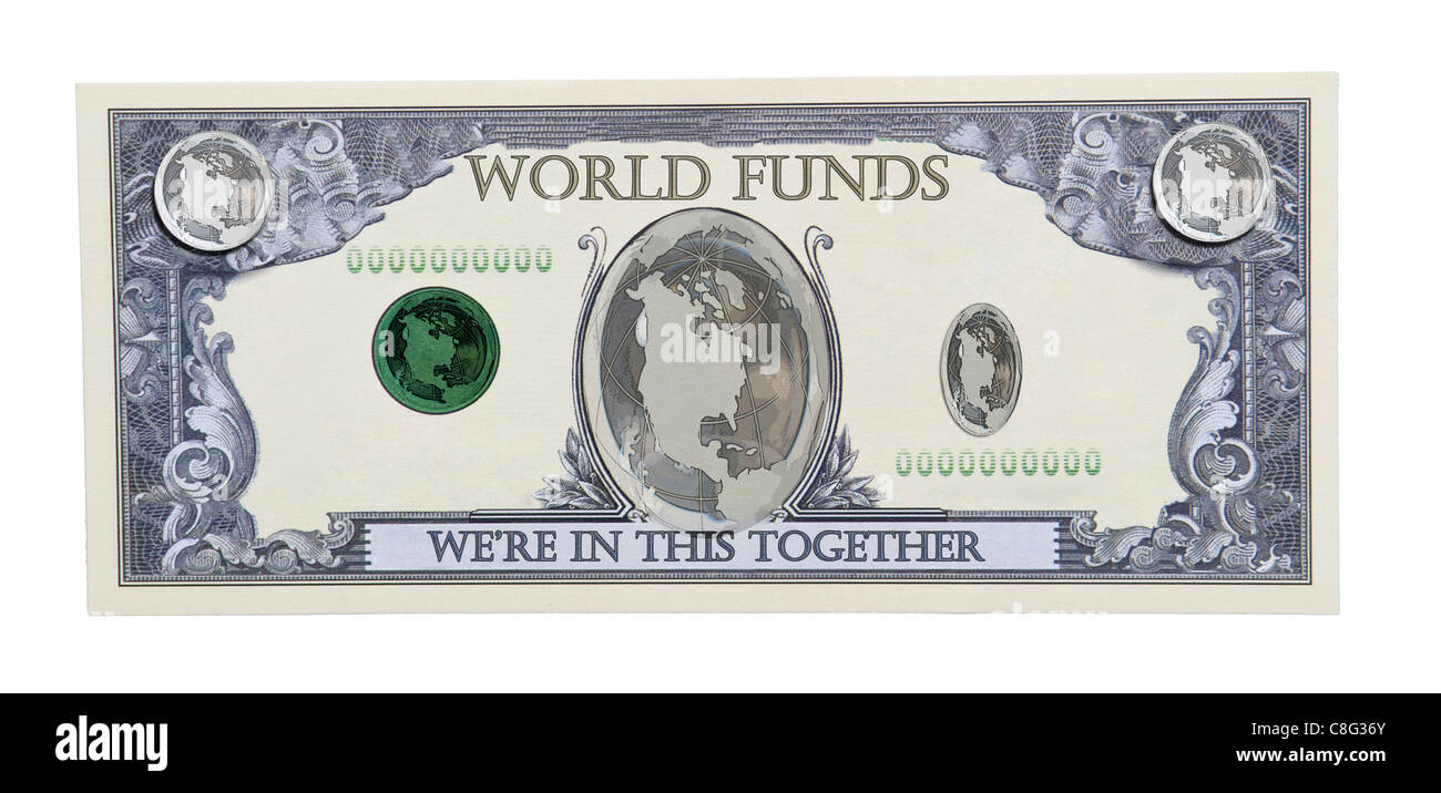 World funds shown by the world globe on a money bill - Path included - Stock Image